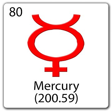Mercury planet symbol on chemical tile. by stuwdamdorp