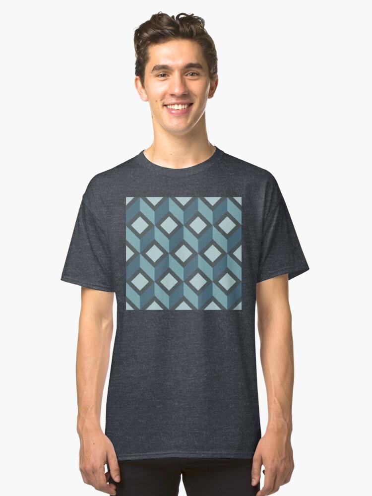Alternate view of Geometric Pattern: Diamond Chevron: Steel Classic T-Shirt