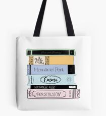 Jane Austen Book Stack - Colour  Tote Bag