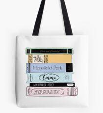 Jane Austen Buchstapel - Farbe Tote Bag