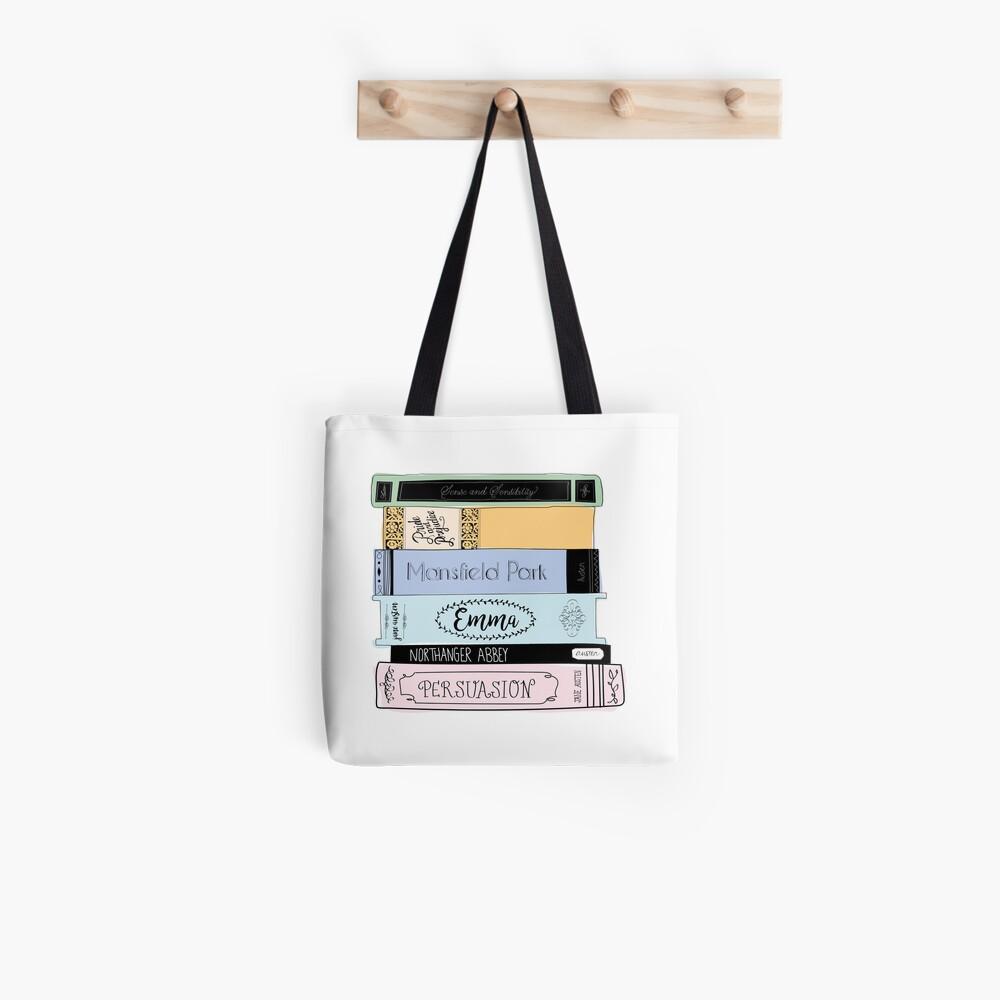 Jane Austen Book Stack - Colour  Tote Bag