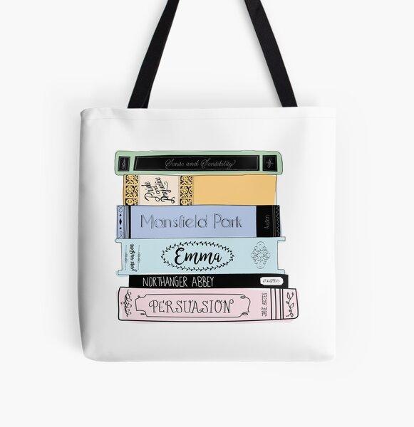 Jane Austen Book Stack - Colour  All Over Print Tote Bag