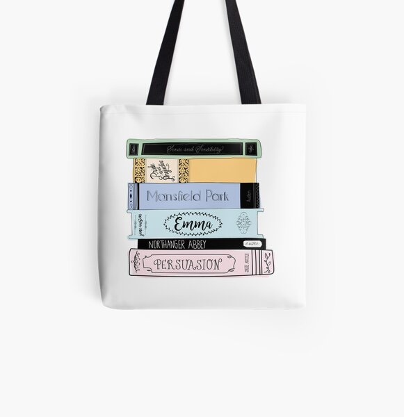 Jane Austen Book Stack - Colour  All Over Print Tote Bag