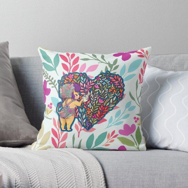 Floral Safari Lion Throw Pillow