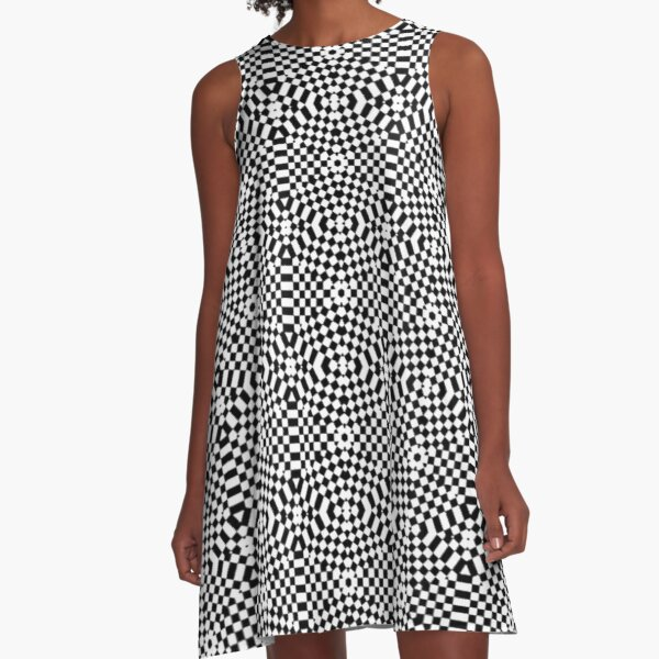#texture, #pattern, #abstract, #metal, #black, #fabric, #textile, #white, #design, #material, #textured, 织 带 A-Line Dress