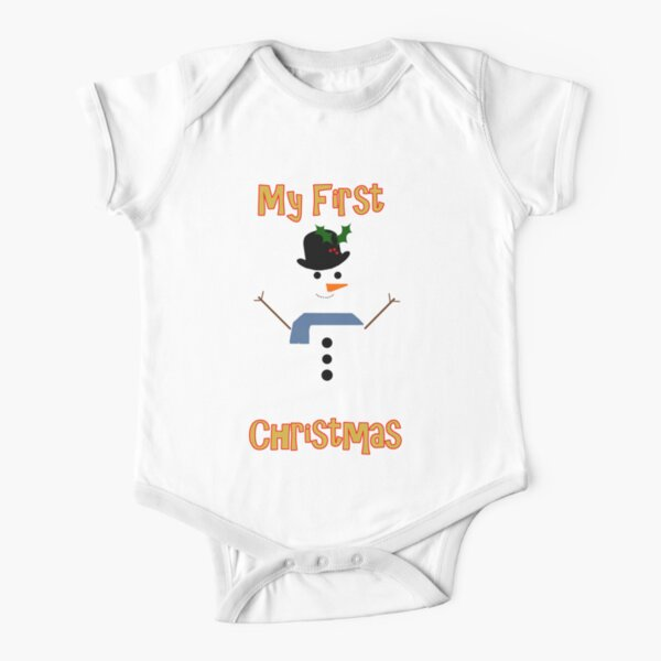 My First Christmas - Snowman Short Sleeve Baby One-Piece