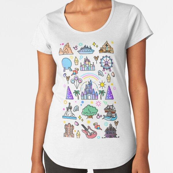 La colección más feliz del lugar en la tierra. Es un mundo pequeño Camiseta premium de cuello ancho
