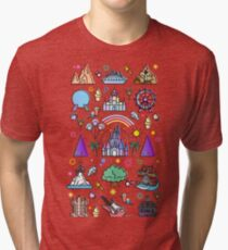 Happiest Place on Earth Collection. It's a Small World, Haunted Mansion, Princess Castle, Manatee, Ferris Wheel Theme Park. Tri-blend T-Shirt