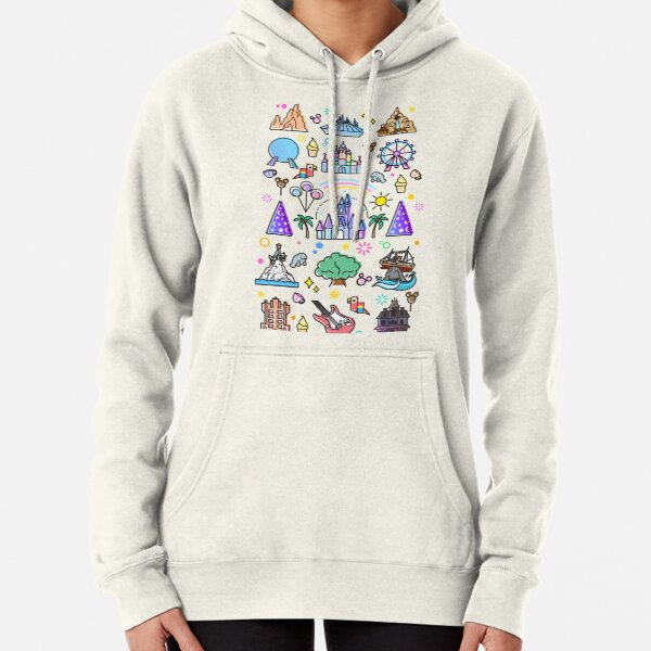 Happiest Place on Earth Collection. It's a Small World, Haunted Mansion, Princess Castle, Manatee, Ferris Wheel Theme Park. Pullover Hoodie