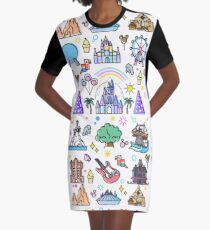 Happiest Place on Earth Collection. It's a Small World, Haunted Mansion, Princess Castle, Manatee, Ferris Wheel Theme Park. Graphic T-Shirt Dress