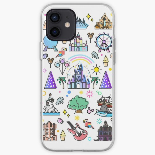 Happiest Place on Earth Collection. It's a Small World, Haunted Mansion, Princess Castle, Manatee, Ferris Wheel Theme Park. iPhone Soft Case
