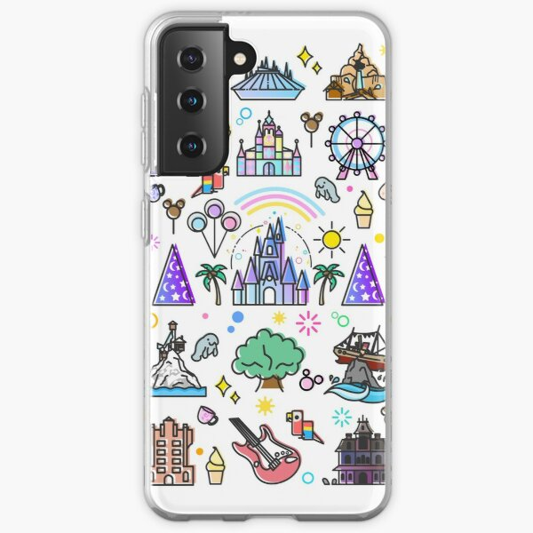 Happiest Place on Earth Collection. It's a Small World, Haunted Mansion, Princess Castle, Manatee, Ferris Wheel Theme Park. Samsung Galaxy Soft Case