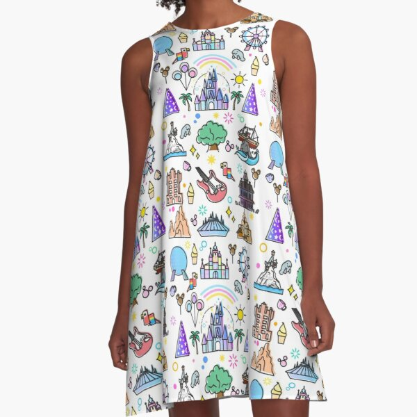 Happiest Place on Earth Collection. It's a Small World, Haunted Mansion, Princess Castle, Manatee, Ferris Wheel Theme Park. A-Line Dress