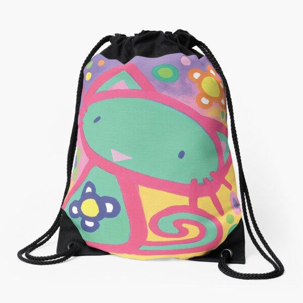 Minty Kitty Drawstring Bag