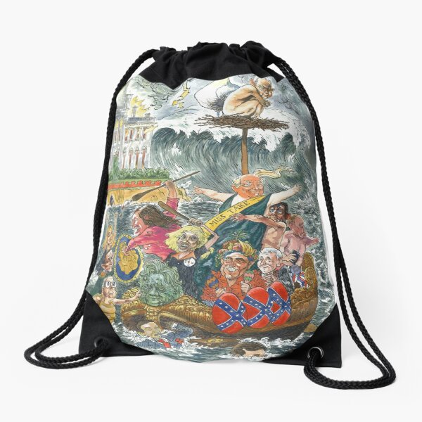The Farce That Launched 1000 Shleps (text) Drawstring Bag