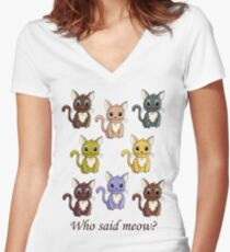 Who said meow? Women's Fitted V-Neck T-Shirt