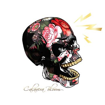 Calavera Bloom Retro Electrical Lightning Skull by TONEIQ