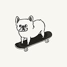 Skateboarding French Bulldog by Huebucket