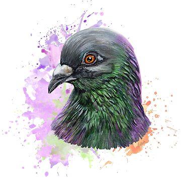 pigeon portrait by ilustradsn