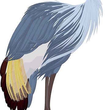 Grey crowned crane cartoon by Marishkayu