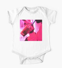 Surreal image of young woman drinking ice drink with straw One Piece - Short Sleeve