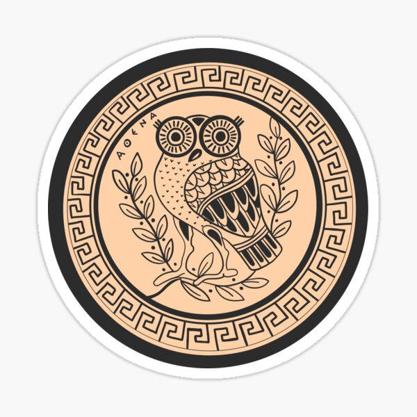 Ancient Athenian Amphora with Owl and Mythical Olive Tree Sticker