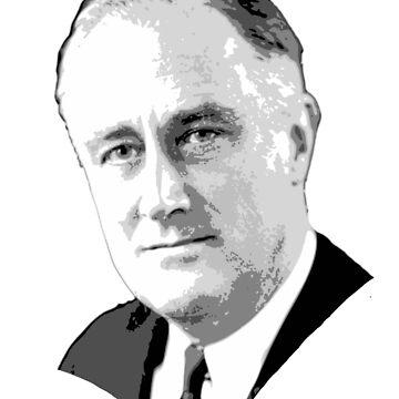 Franklin D. Roosevelt Grayscale Pop Art T-Shirt by idaspark