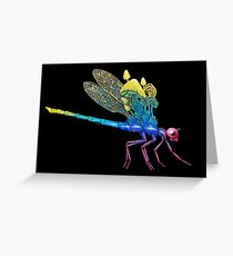 Watch Your Back | Rainbow Dragonfly Painting on Black Background Greeting Card