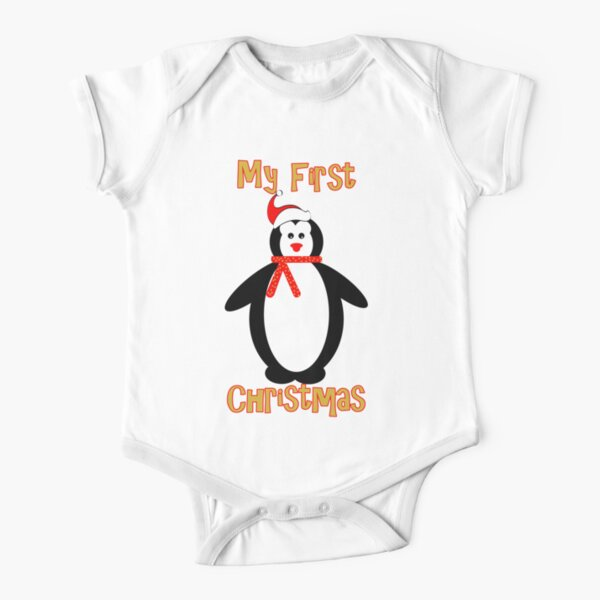 My first Christmas - Penguin Short Sleeve Baby One-Piece