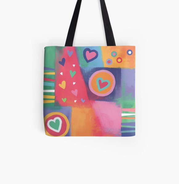 Hearts Patchwork All Over Print Tote Bag