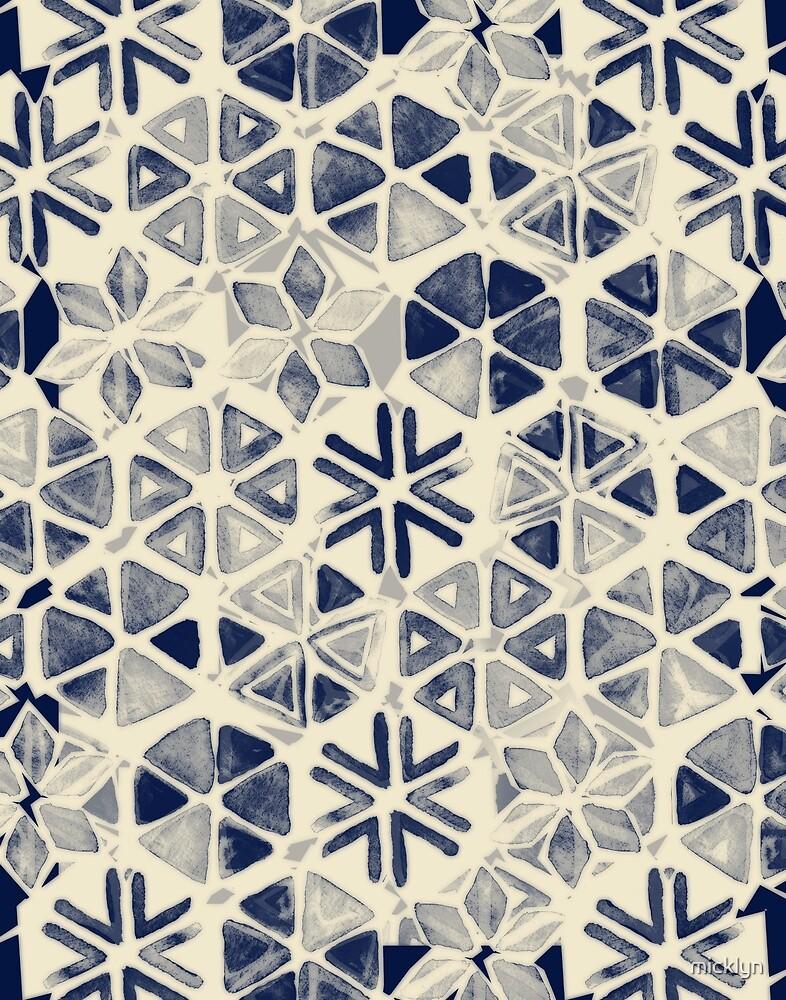 Hand Painted Triangle & Honeycomb Ink Pattern - indigo & cream von micklyn