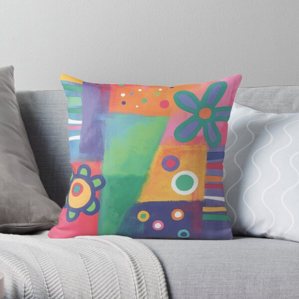 Flowers Patchwork Throw Pillow