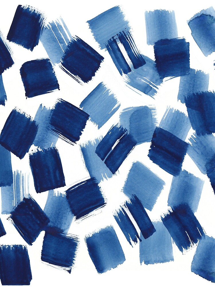 Abstract Brushstrokes | Indigo Painting Pattern by ChipiArtPrints