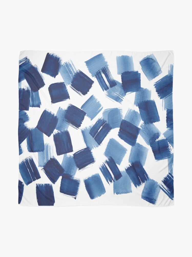 Alternate view of Abstract Brushstrokes | Indigo Painting Pattern Scarf