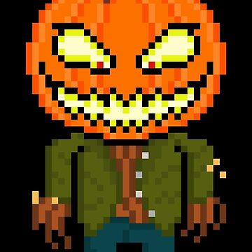 Pixel Monster Pumpkin Head by gkillerb