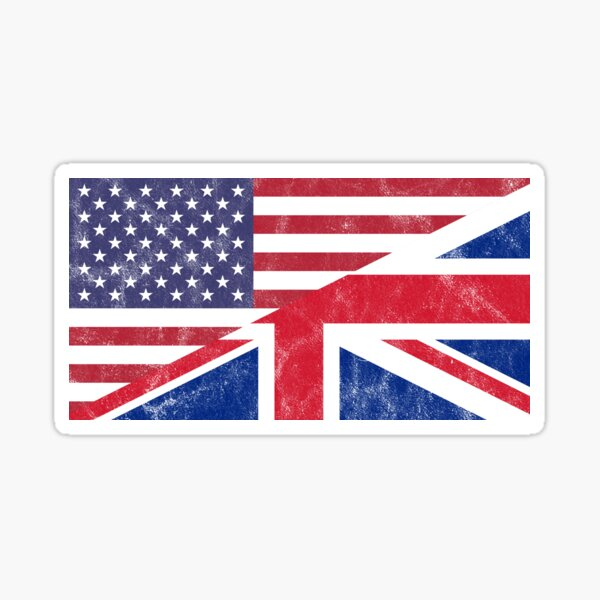 USA and UK Flag Mixed United Allies Friends Sticker