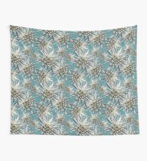 Mum Floral Pattern - Mum's the word - Auqa and White Floral Design - White Mum Flowers - I Love my Mum - Mother Print Wall Tapestry