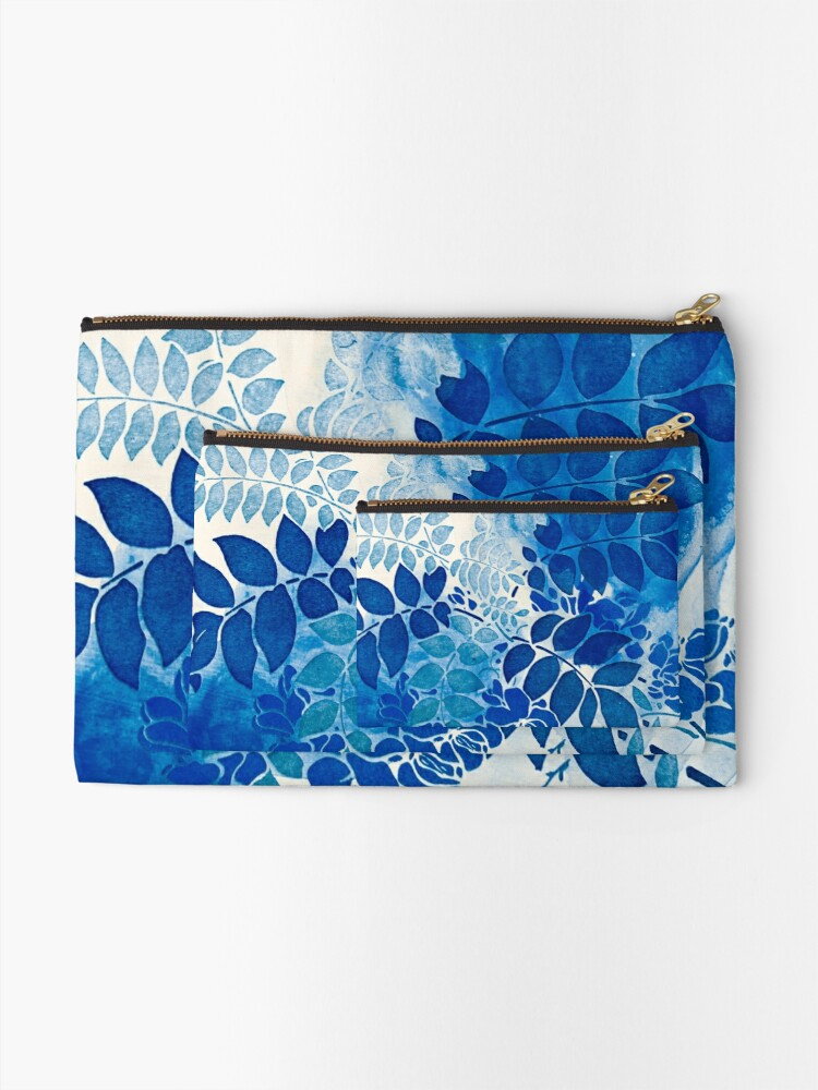 Alternative Ansicht von Blumenstrauß bleu abstrai / abstrakter blauer Blumenstrauß Täschchen