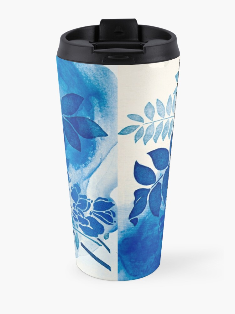 Vista alternativa de Taza de viaje bouquet bleu abstrai / abstract blue bouquet