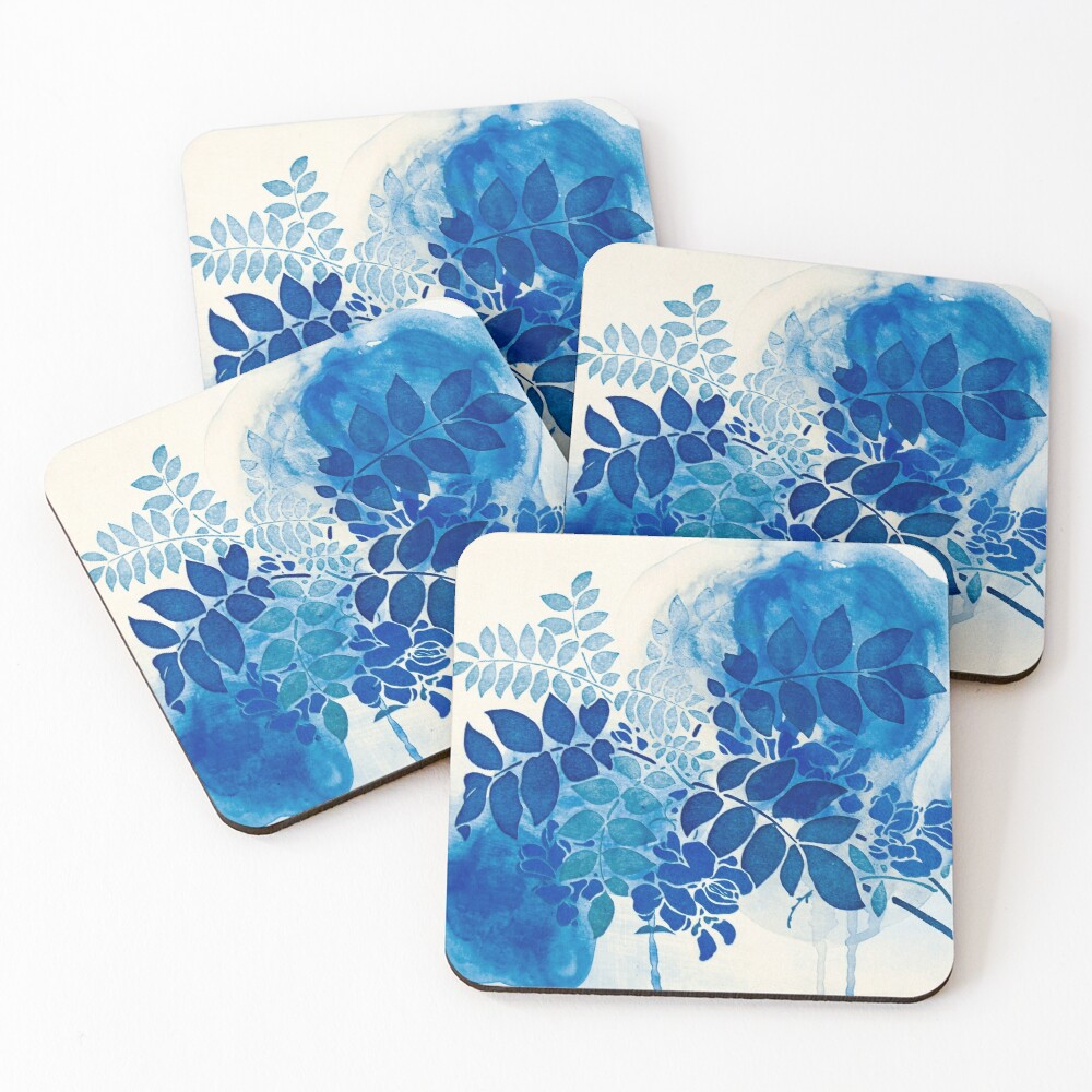 bouquet bleu abstrai/abstract blue bouquet Coasters (Set of 4)