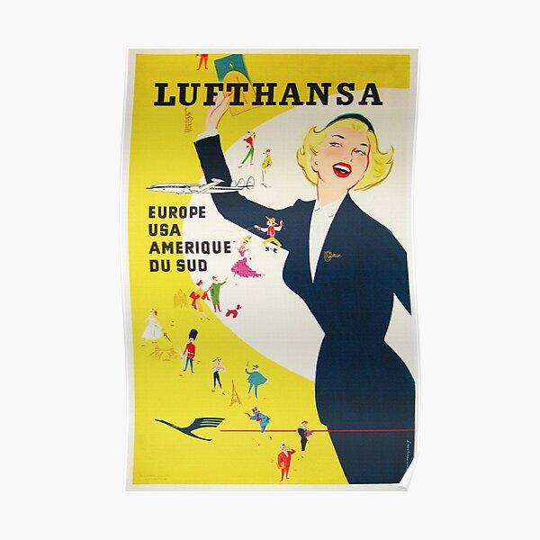 Vintage 1950's German Lufthansa  Poster