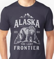 Alaska das letzte Frontier-Bärn-Zuhause-T-Shirt Männer-Frauen-Weinlese-Geschenke Nationalpark Slim Fit T-Shirt