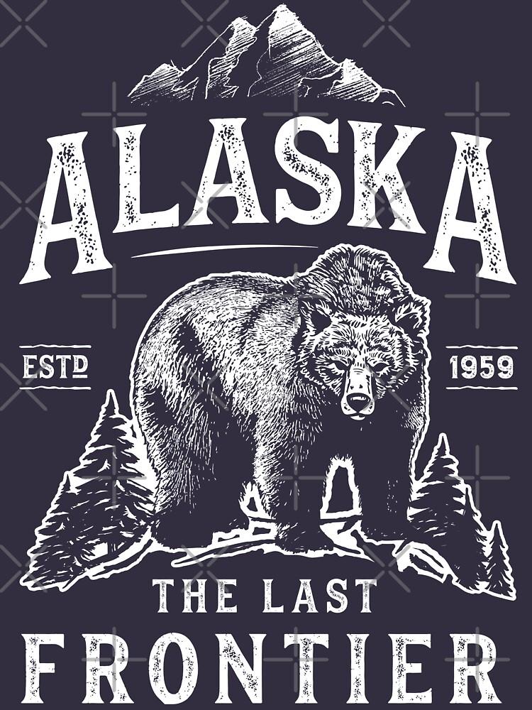 Alaska das letzte Frontier-Bärn-Zuhause-T-Shirt Männer-Frauen-Weinlese-Geschenke Nationalpark von LiqueGifts