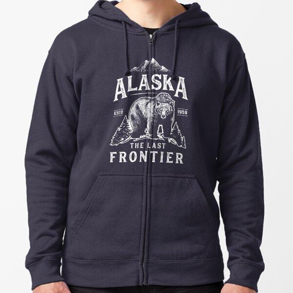 Alaska The Last Frontier Bear Home T Shirt Men Women Vintage Gifts National Park Zipped Hoodie