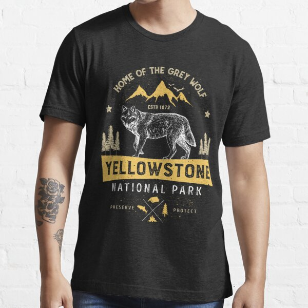 Yellowstone T shirt National Park Grey Wolf - Vintage Gifts Men Women Kids Youth Essential T-Shirt