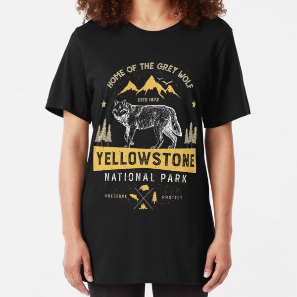 Yellowstone T shirt National Park Grey Wolf - Vintage Gifts Men Women Kids Youth Slim Fit T-Shirt