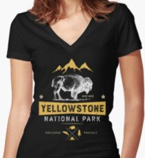 Yellowstone T shirt National Park Bison Buffalo - Vintage Gifts Men Women Youth Kids Tees Women's Fitted V-Neck T-Shirt