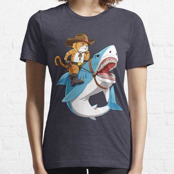 Cat Riding Shark T shirt Funny Kitty Kitten Cowboy hat Gifts Kids Boys Girls Essential T-Shirt