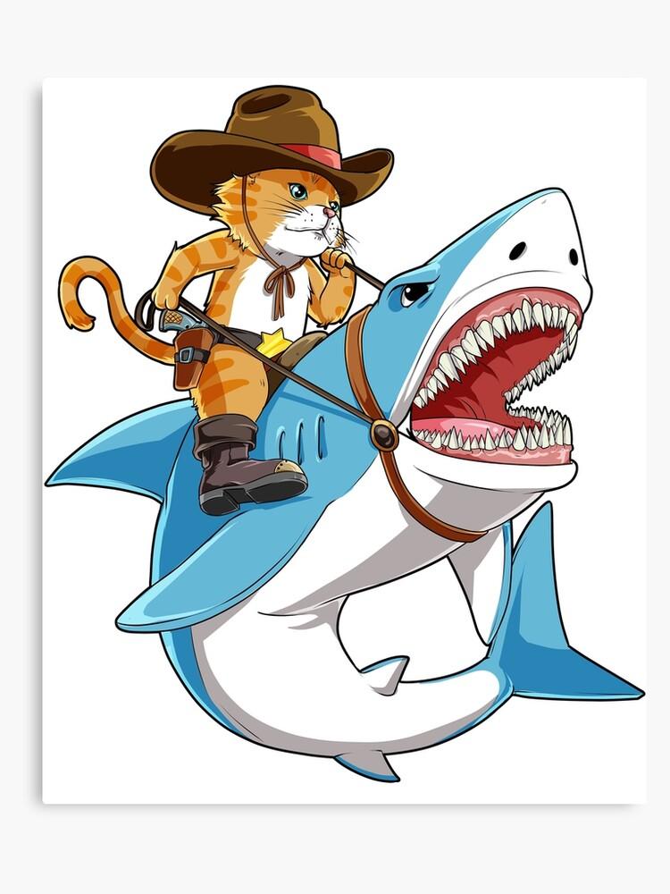 4cf268863dacea Cat Riding Shark T shirt Funny Kitty Kitten Cowboy hat Gifts Kids Boys Girls  Canvas Print