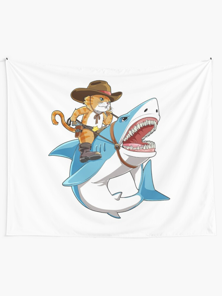 86bf5da02 Cat Riding Shark T shirt Funny Kitty Kitten Cowboy hat Gifts Kids Boys  Girls Wall Tapestry
